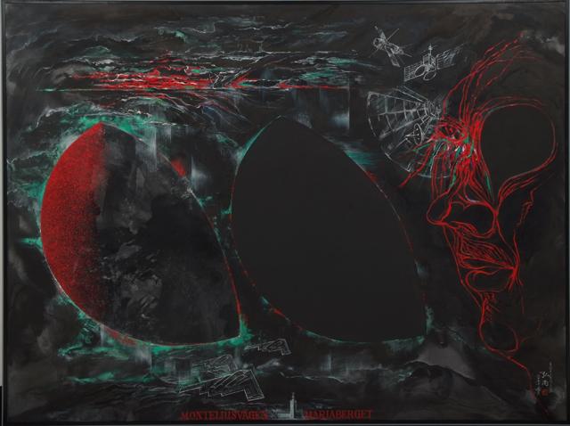 豊島弘尚《もんてりうすべーげん》2005年、青森県立美術館蔵 墨・岩絵具・油絵具・キャンバス 194.0×259.1 cm