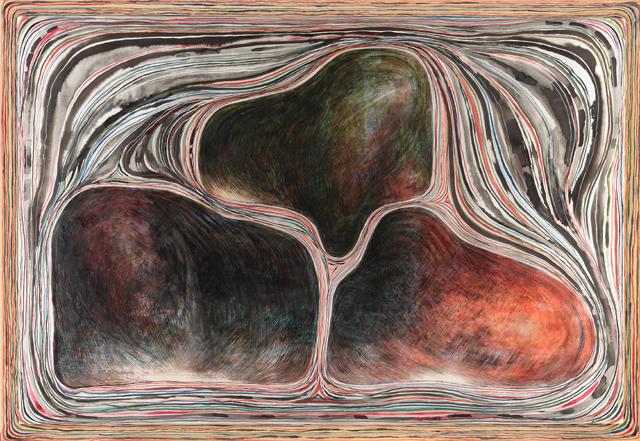 豊島弘尚《空に播く種子(アルタの宙)》1998年、青森県立美術館蔵 墨・岩絵具・油絵具・キャンバスに銀箔・木板 144.5×206.0 cm